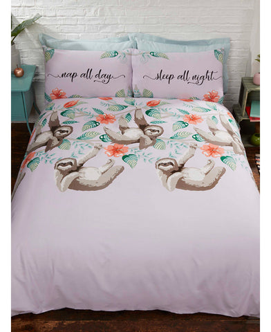 Sloth Sleep all night Single Duvet Cover and Pillowcase Set
