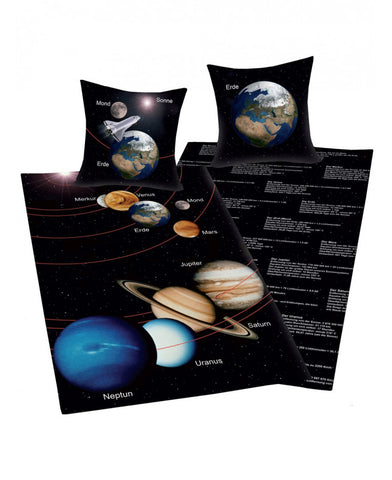 Solar System Reversible Single Duvet Cover And Pillowcase Set - German