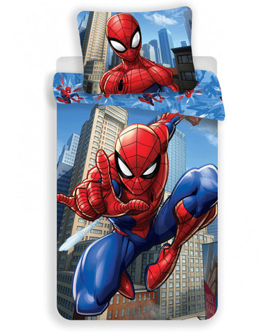 Spiderman Blue Cotton Single Duvet Set
