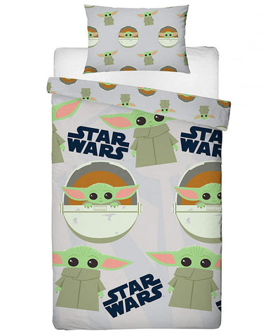 Star Wars Baby Yoda Mandalorian Face Single Duvet Cover Set