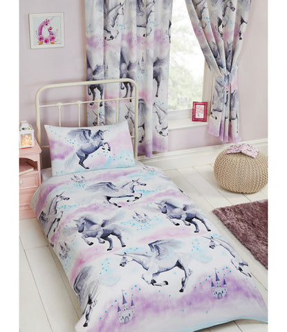 Stardust Unicorn Junior Toddler Duvet Cover & Pillowcase Set - Lilac and Pink