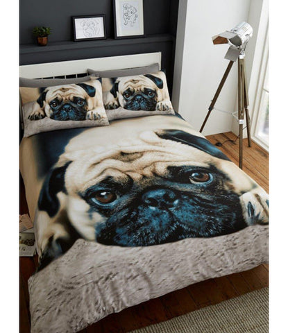 Sweet Pug Double/Queen Duvet Cover and Pillowcase Set
