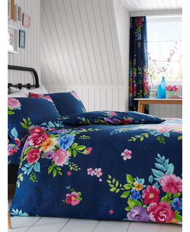 Alice Floral Double/Queen Duvet Cover And Pillowcase Set - Navy And Pink