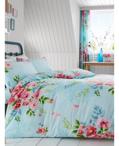 Alice Floral King Size Duvet Cover And Pillowcase Set - Turquoise And Pink