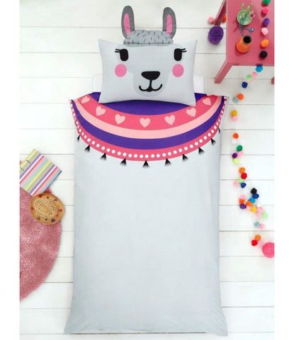 Llama Single Duvet Cover and Shaped Pillowcase Set