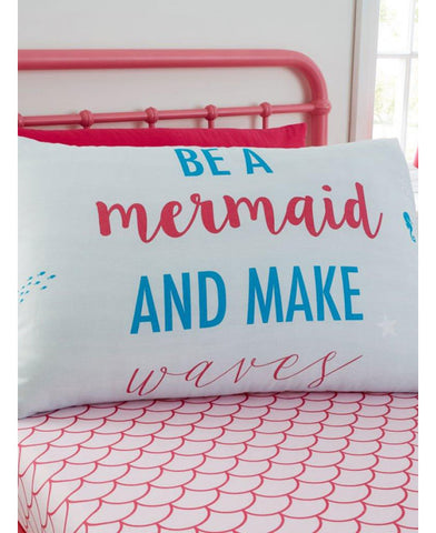Mermaid World Single Fitted Sheet and Pillowcase Set