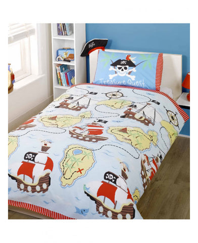 Treasure Quest Pirate Single Duvet Cover and Pillowcase Set