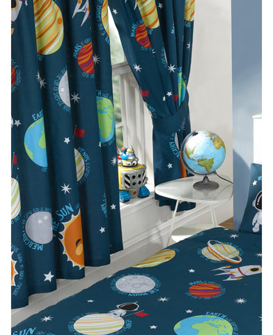 Solar System Planets & Space Lined Curtains  66in wide (168cm) and 54in drop (137cm)