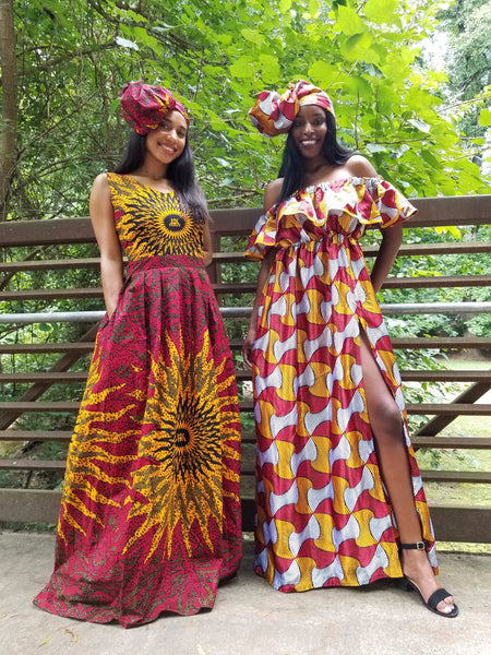 Blaze Maxi Dress With Free Headwrap and Pockets - Red Base