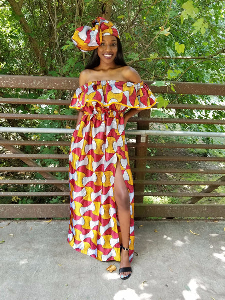 Electric Satin Dress With Free Headwrap and Pockets