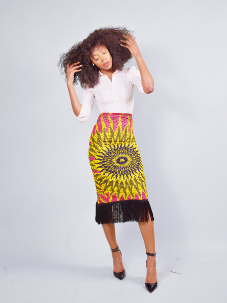 Blaze Fringe Skirt - Pink Base