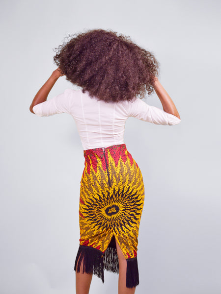 Blaze Fringe Skirt with Free Headwrap - Red Base