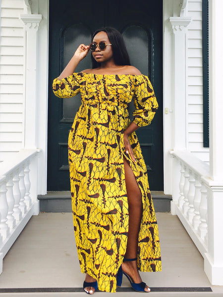 Abi Maxi Dress With High Slit and Off shoulder - Yellow