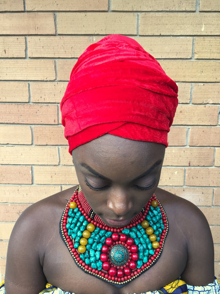 Red - Glamorous Headwrap -Turban (FINAL SALE)