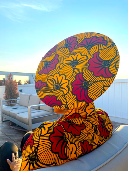 Petals Ankara Fascinator / Flat Hat - Yellow