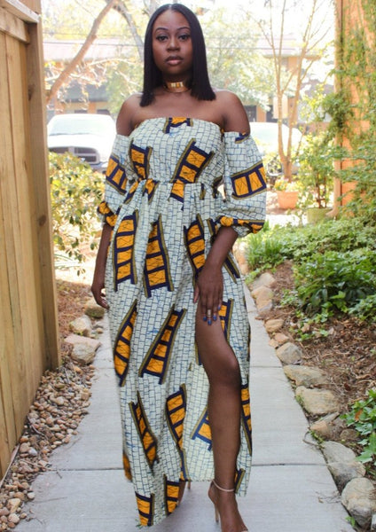 ankara dress, african dress with slit, ankara silk, african summer dress, fancy african outfit, summer dress, off shoulder sun dress, flowy dress with slit
