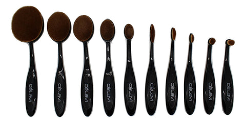 Celavi - 10 Piece Oval Black Brushes
