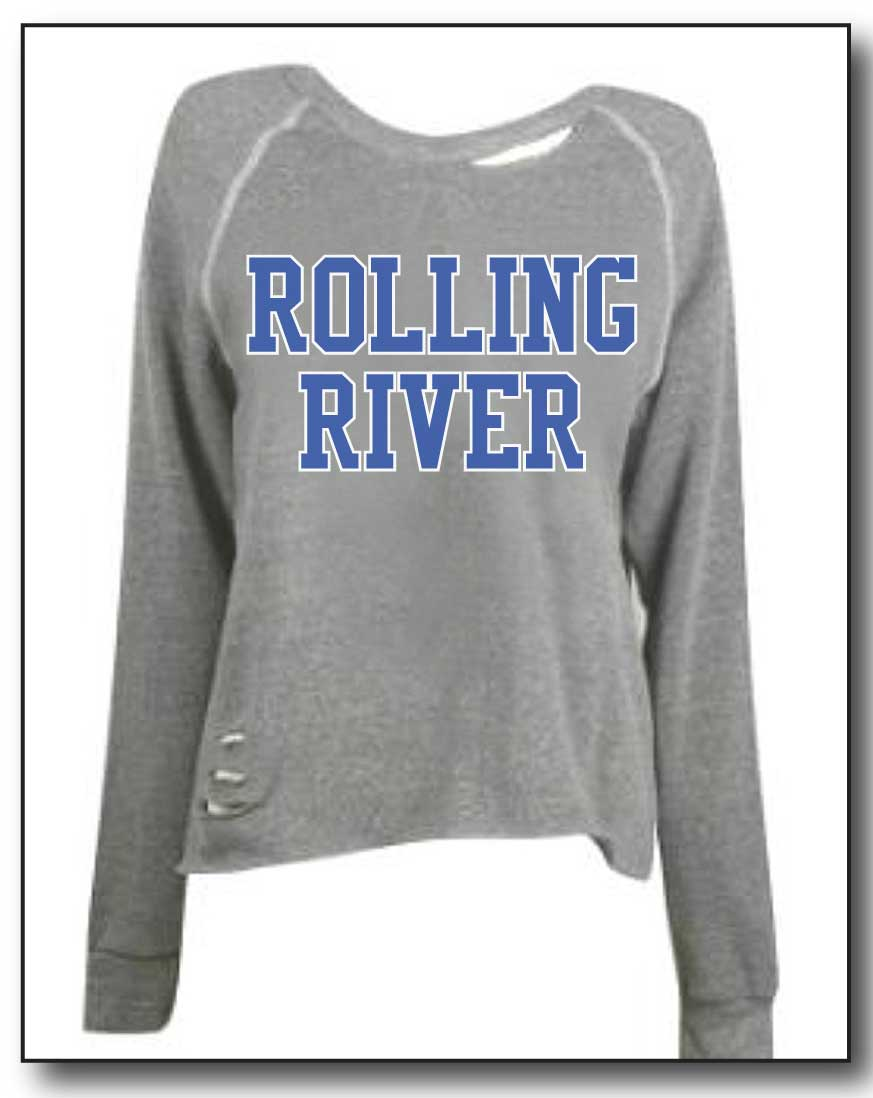 ROLLING RIVER RIPPED OFF THE SHOULDER SWEATSHIRT