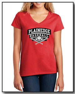 PB WOMENS V NECK TEE- RED