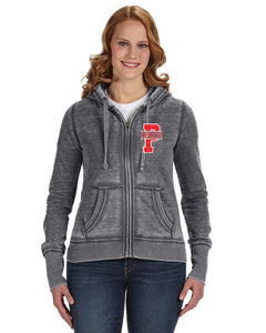 WOMENS BURNOUT/ DISTRESSED FULL ZIP HOODED SWEATSHIRT