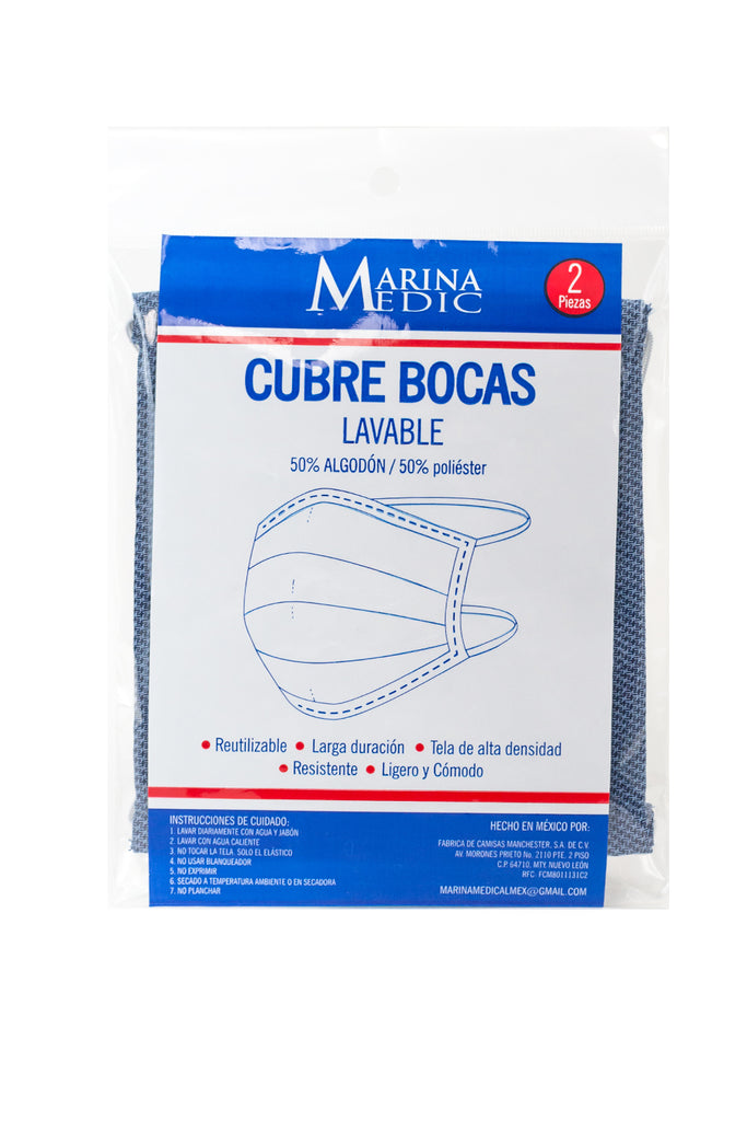 2- Pack Cubrebocas Doble Capa - Petroleo