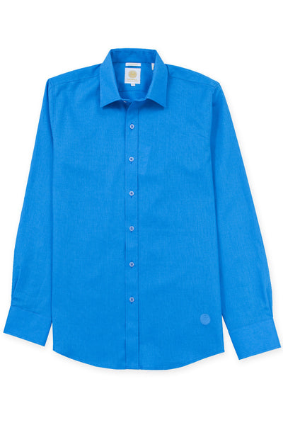 Slim corte linen blend cool camisas azul electrico