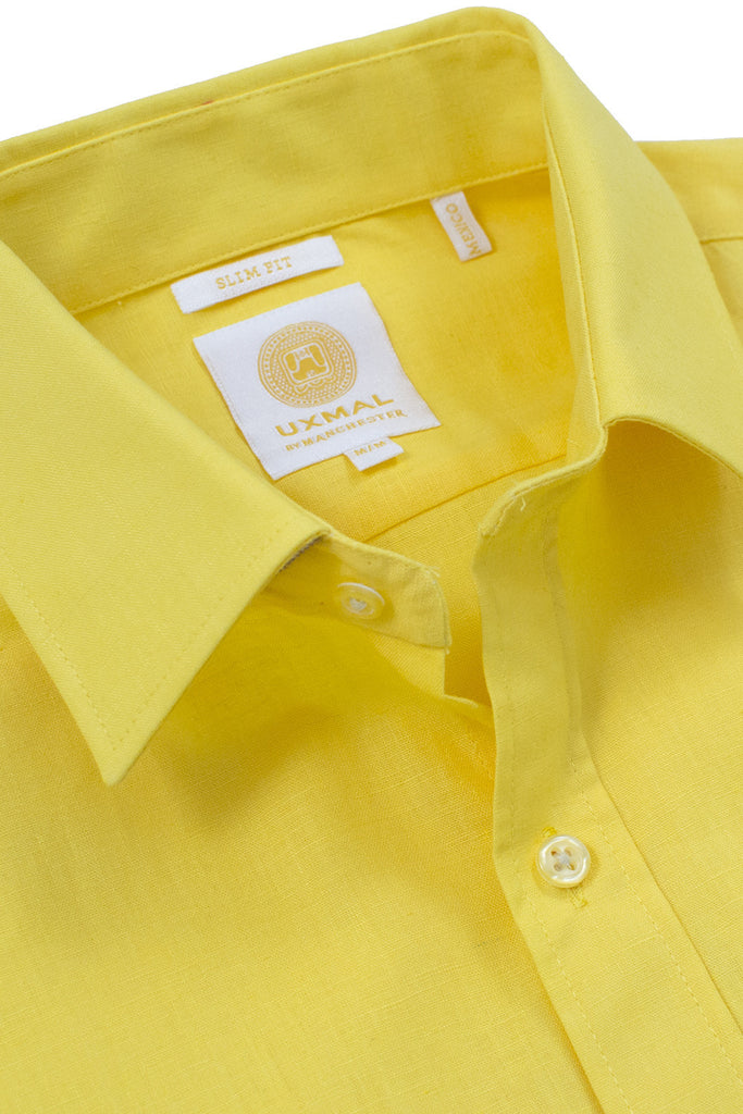 Slim corte linen blend cool camisass amarillo electrico