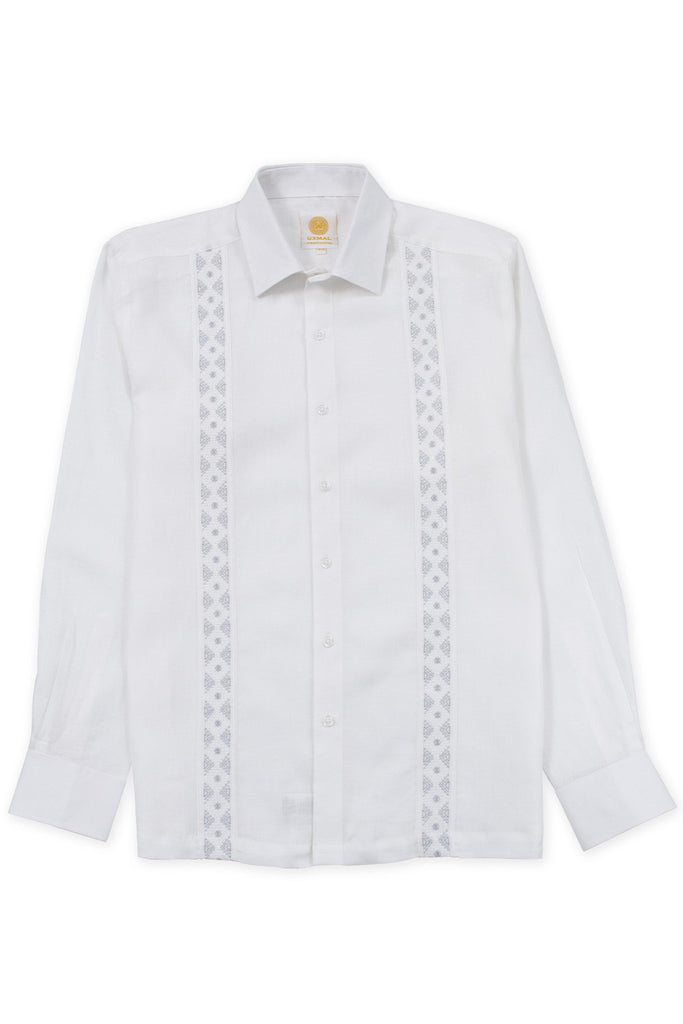 Regular corte formal wear linen guayabera aztec embroidery blanco