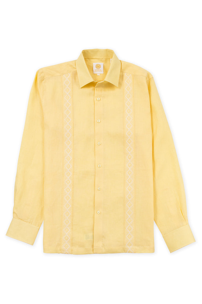 Regular corte formal wear linen guayabera aztec embroidery amarillo