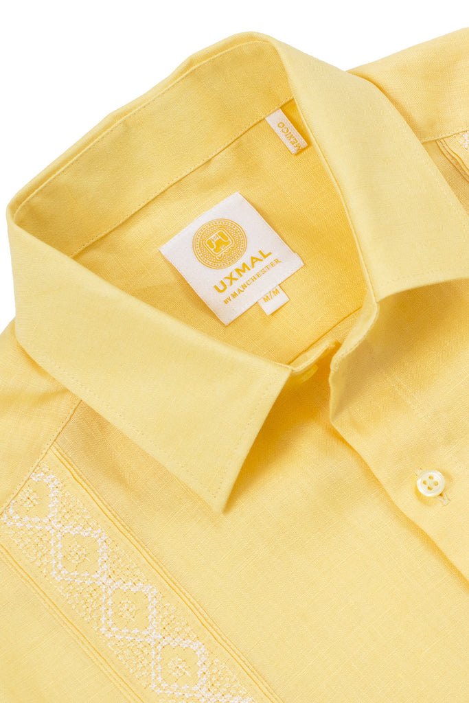 Regular corte formal wear linen guayaberas aztec embroidery amarillo
