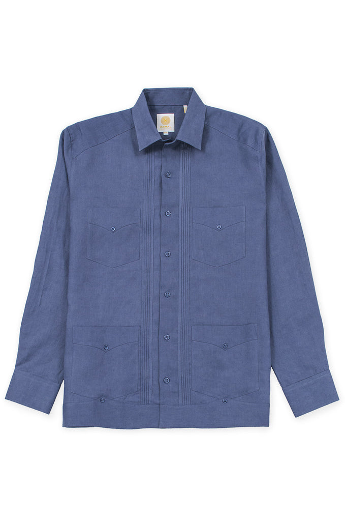 Regular corte 4 pocket linen guayabera camisas ink azul