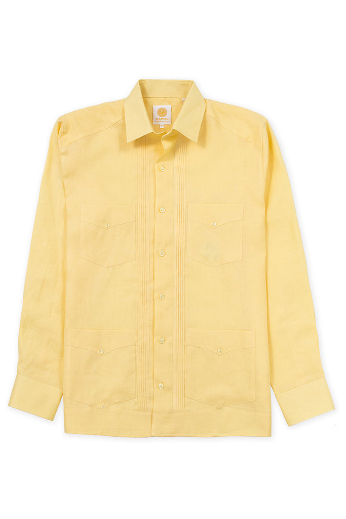Regular corte 4 pocket linen guayabera camisas amarillo