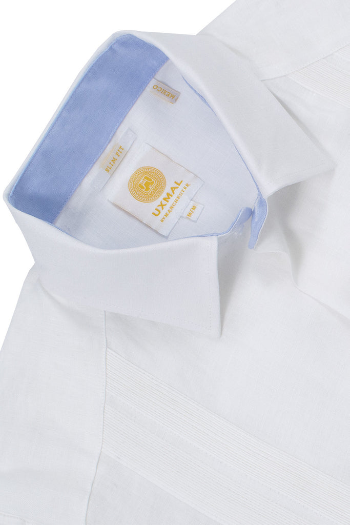Slim corte 4 pocket traditional linen guayabera camisass blanco