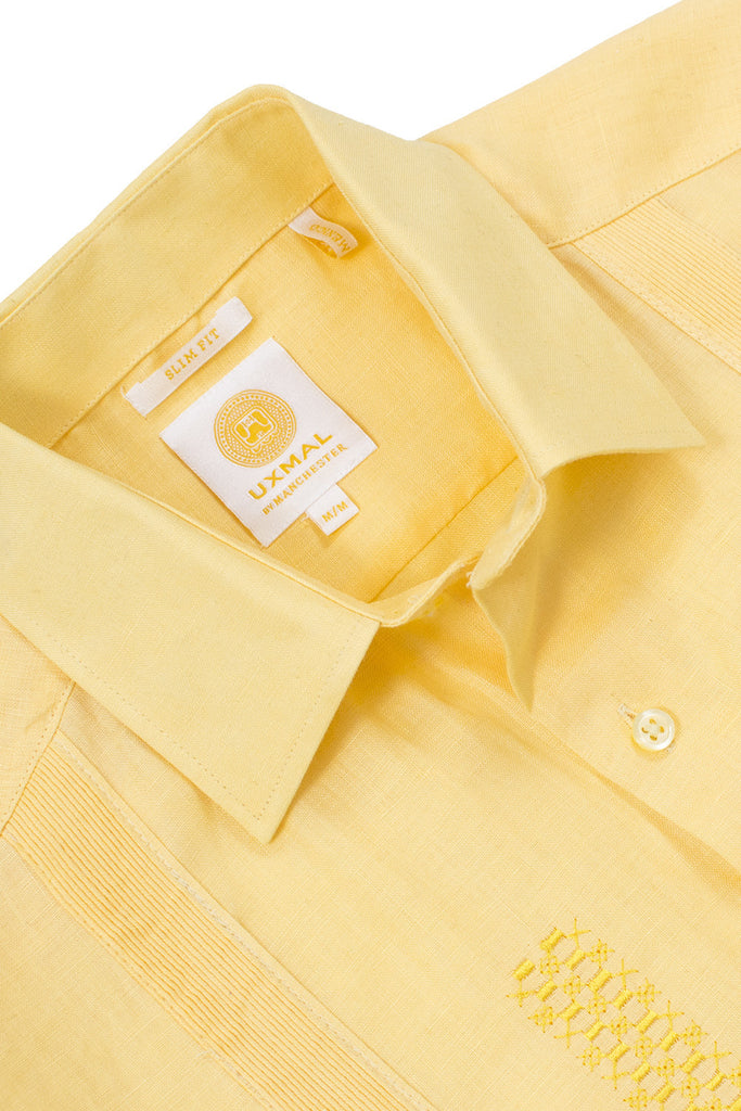 Slim corte traditional linen guayabera camisass celestun embroidery amarillo