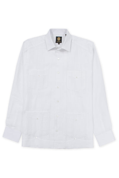Regular corte 4 pocket italian linen relaxed guayabera camisas blanco