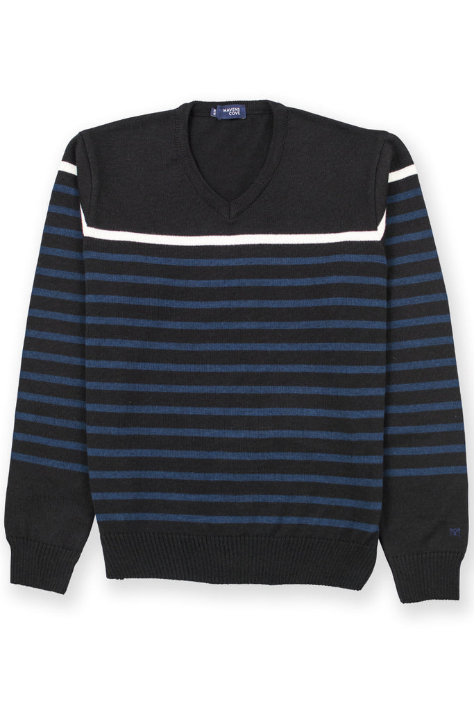 Striped merino wool casual wear blend suŽter negro