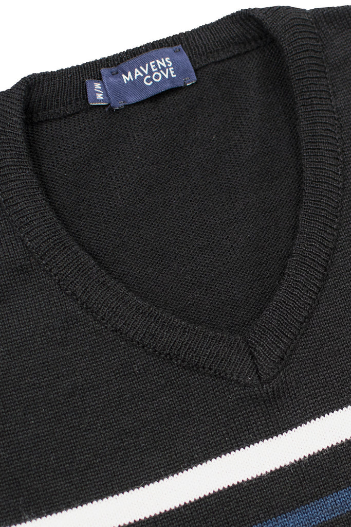 Striped merino wool casual wear blend suŽters negro