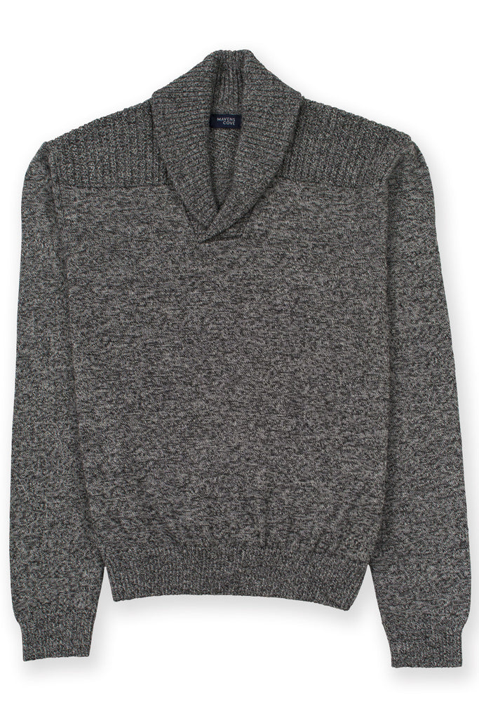 Shawl collar v-neck merino wool blend suŽter gris