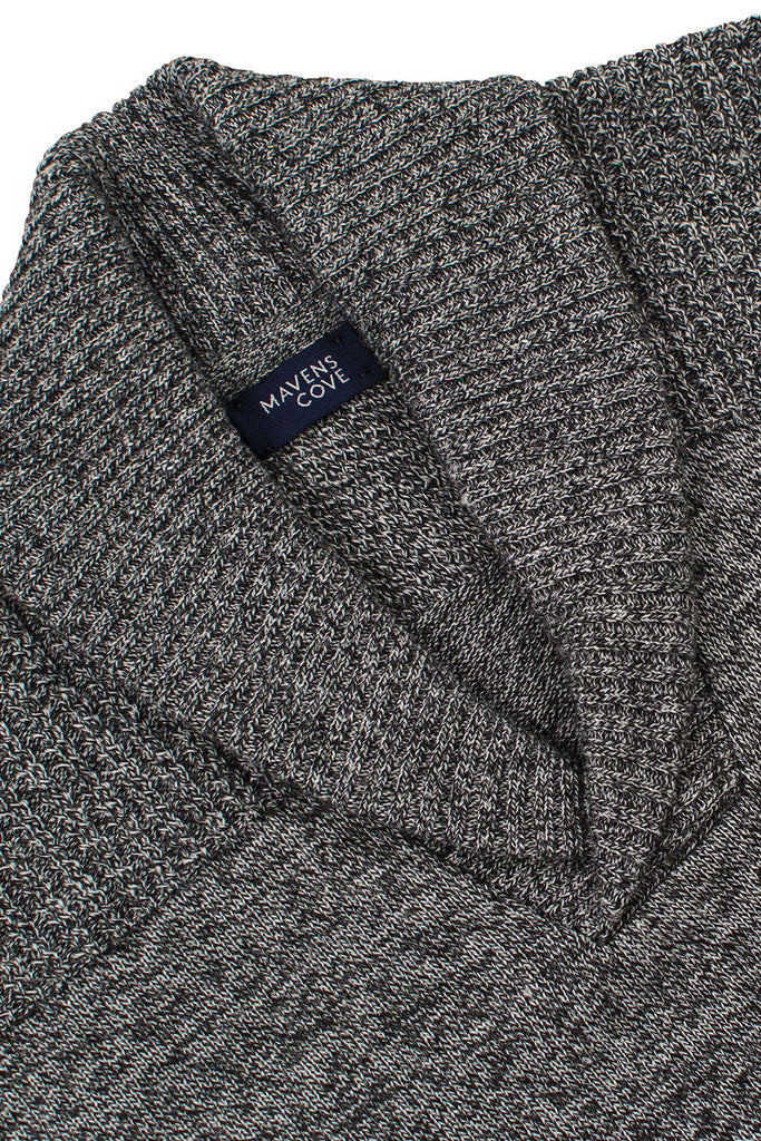 Shawl collar v-neck merino wool blend suŽters gris