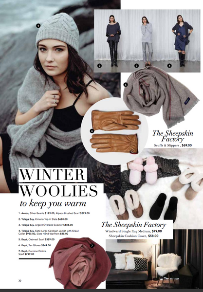 Kept Eye Magazine carmine ombre scarf oatmeal stripe scarf tan leather gloves
