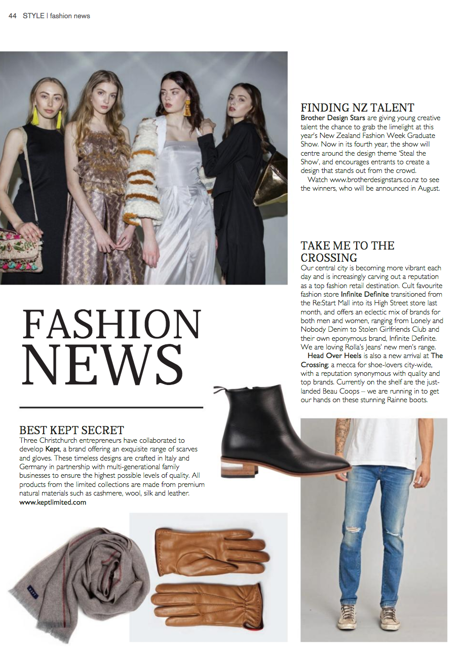 Kept Style magazine oatmeal stripe scarf tan leather gloves