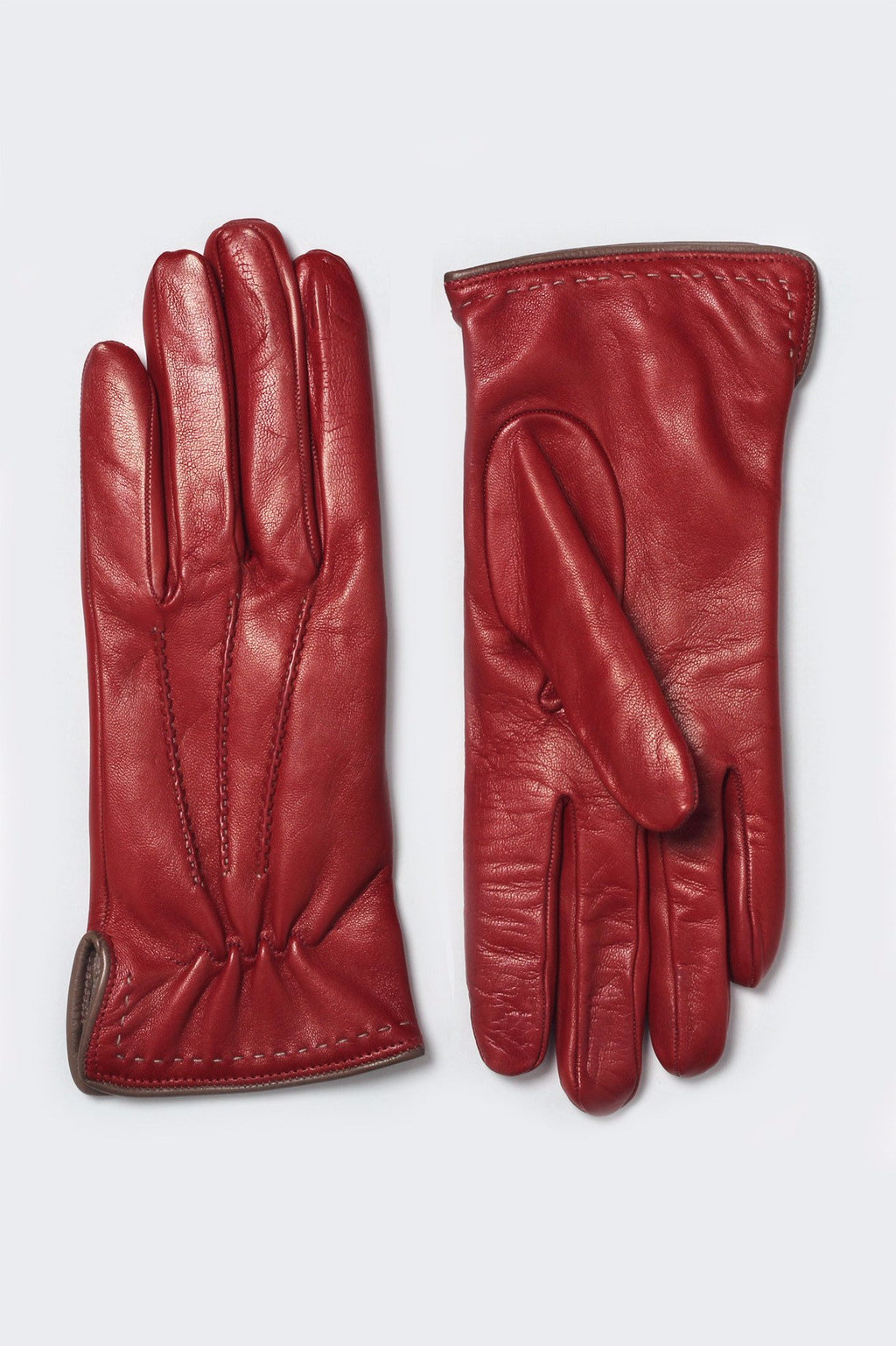 Carmine leather gloves cashmere lined made in Italy