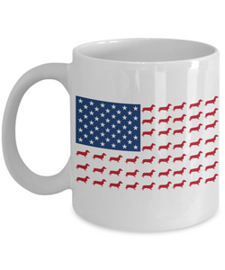 Mug Town - Doxie Got Moxie - Dachshunds USA Flag - Weiner Dog Coffee Cups