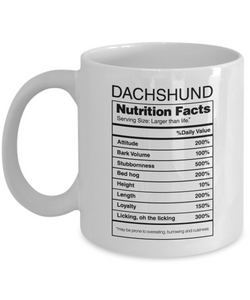 Mug Town - Dachshund Gifts Nutrition Facts - Coolest Coffee Mug