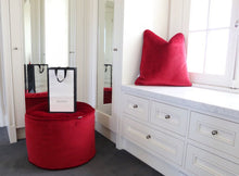 Red Velvet Round Floor Poufs & Ottomans