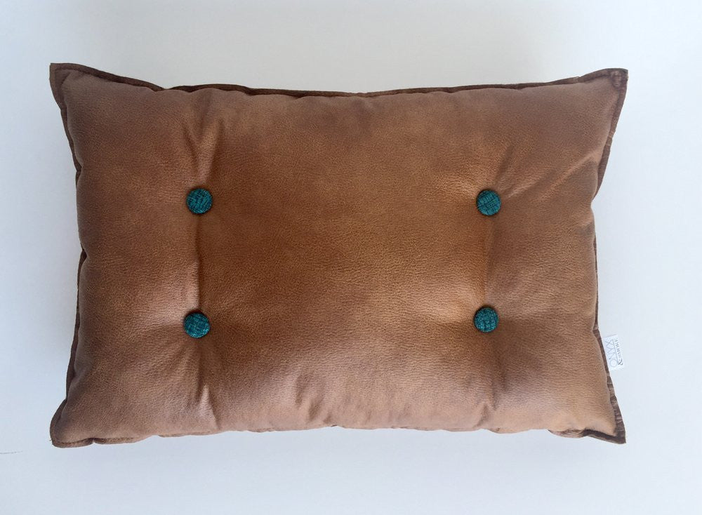 Teal Buttoned Cushions Lumbar & Round as seen on the Oh.eight.Oh.nine blog.
