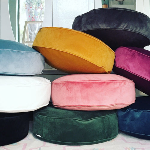 Velvet Round Pouf 23 Stunning Colours Available (inc gst)