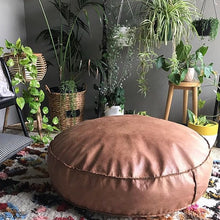 Vegan Leather Pouf /  Ottoman Round sizes.