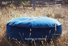 Large round velvet pouf royal blue 100x20cm