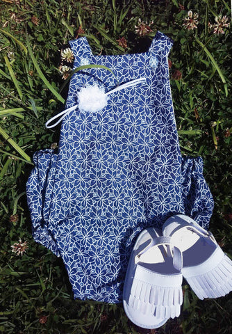 White Flower Denim Look Sunsuit